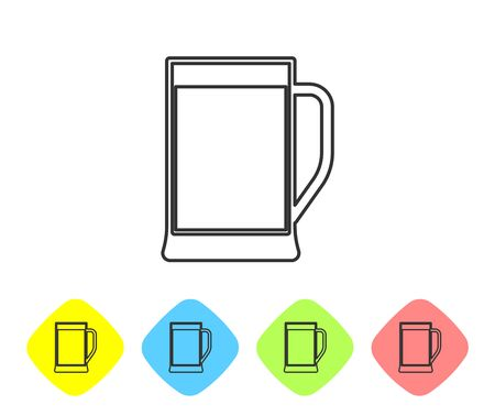 Grey Glass of beer line icon isolated on white background. Set icon in color rhombus buttons. Vector Illustration