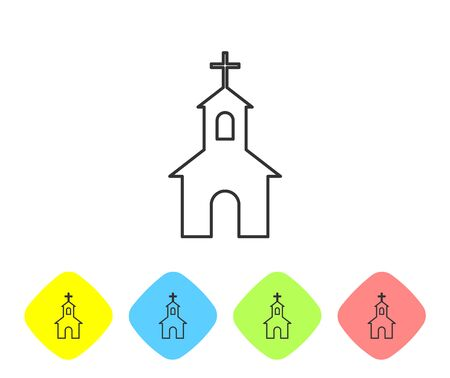Grey Church building line icon isolated on white background. Christian Church. Religion of church. Set icon in color rhombus buttons. Vector Illustration