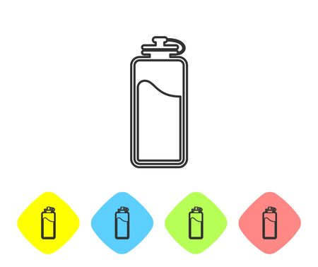 Grey Sport bottle with water line icon isolated on white background. Set icon in color rhombus buttons. Vector Illustration