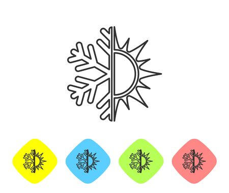 Grey Hot and cold symbol. Sun and snowflake line icon isolated on white background. Winter and summer symbol. Set icon in color rhombus buttons. Vector Illustration Ilustrace