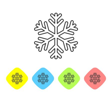GreySnowflake line icon isolated on white background. Set icon in color rhombus buttons. Vector Illustration Ilustrace