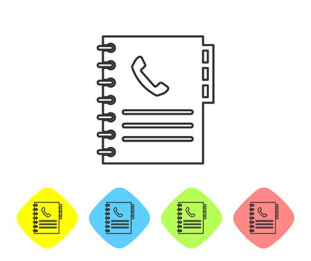 Grey Phone book line icon isolated on white background. Address book. Telephone directory. Set icon in color rhombus buttons. Vector Illustration Illustration