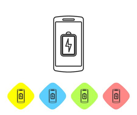 Grey Smartphone battery charge line icon isolated on white background. Phone with a low battery charge. Set icon in color rhombus buttons. Vector Illustration Stock Illustratie