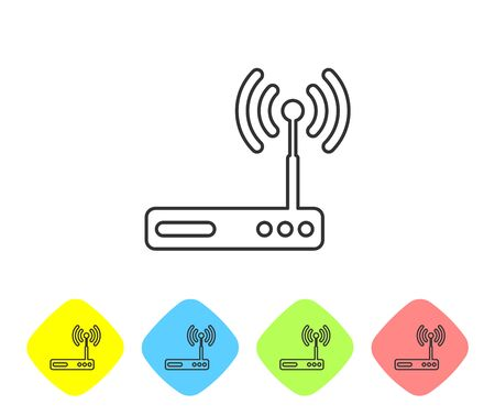 Grey Router and wifi signal symbol line icon isolated on white background. Wireless modem router. Computer technology internet. Set icon in color rhombus buttons. Vector Illustration
