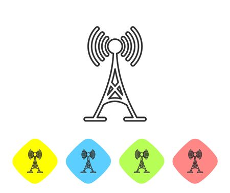 Grey Antenna line icon isolated on white background. Radio antenna wireless. Technology and network signal radio antenna. Set icon in color rhombus buttons. Vector Illustration Stock Vector - 124594140