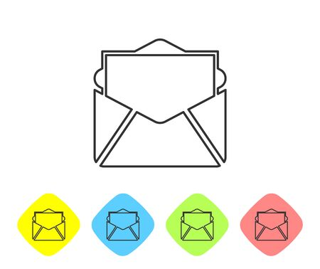 Grey Mail and e-mail line icon isolated on white background. Envelope symbol e-mail. Email message sign. Set icon in color rhombus buttons. Vector Illustration