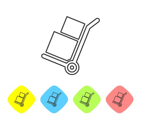 Grey Hand truck and boxes line icon isolated on white background. Dolly symbol. Set icon in color rhombus buttons. Vector Illustration
