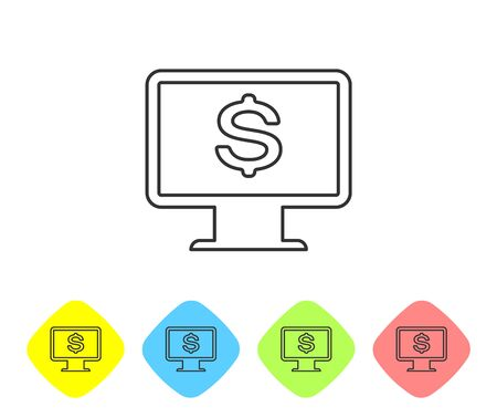 Grey Computer monitor with dollar line icon isolated on white background. Internet financial security concept, online finance protection. Set icon in color rhombus buttons. Vector Illustration