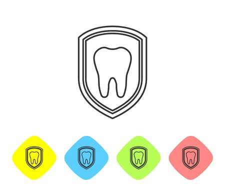 Grey Dental protection line icon isolated on white background. Tooth on shield logo icon. Set icon in color rhombus buttons. Vector Illustration Illustration