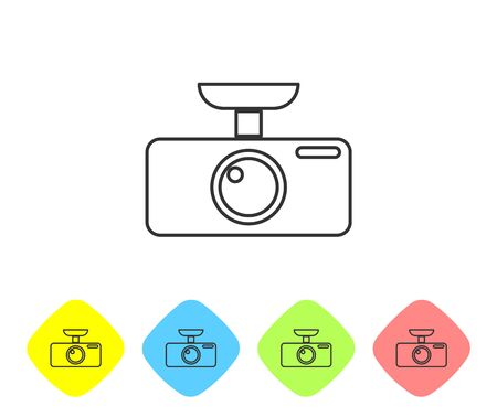 Grey Car DVR line icon isolated on white background. Car digital video recorder icon. Set icon in color rhombus buttons. Vector Illustration Ilustração
