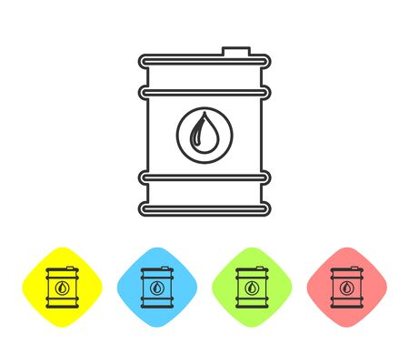 Grey Barrel oil line icon isolated on white background. Set icon in color rhombus buttons. Vector Illustration