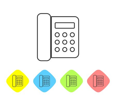 Grey Telephone line icon isolated on white background. Landline phone. Set icon in color rhombus buttons. Vector Illustration
