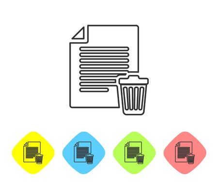 Grey Delete file document line icon isolated on white background. Paper sheet with recycle bin sign. Rejected document icon. Cross on paper. Set icon in color rhombus buttons. Vector Illustration