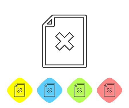 Grey Delete file document line icon isolated on white background. Rejected document icon. Cross on paper. Set icon in color rhombus buttons. Vector Illustration