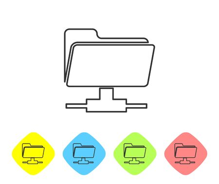Grey FTP folder line icon on white background. Concept of software update, ftp transfer protocol, teamwork tool management, copy process, info. Set icon in color rhombus buttons. Vector Illustration