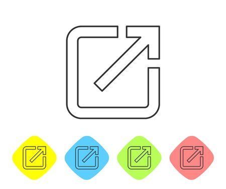 Grey Open in new window line icon isolated on white background. Open another tab button sign. Browser frame symbol. External link sign. Set icon in color rhombus buttons. Vector Illustration Ilustrace