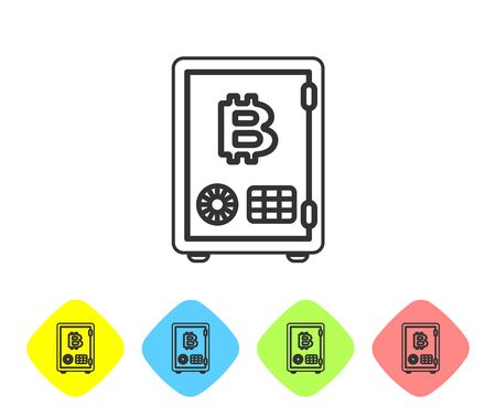 Grey Proof of stake line icon on white background. Cryptocurrency economy and finance collection. Set icon in color rhombus buttons. Vector Illustration