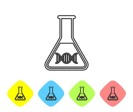 Grey DNA research, search line icon isolated on white background. Genetic engineering, genetics testing, cloning, paternity testing. Set icon in color rhombus buttons. Vector Illustration