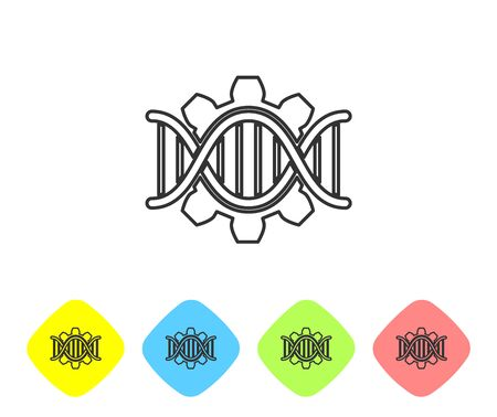 Grey Genetic engineering line icon isolated on white background. DNA analysis, genetics testing, cloning, paternity testing. Set icon in color rhombus buttons. Vector Illustration