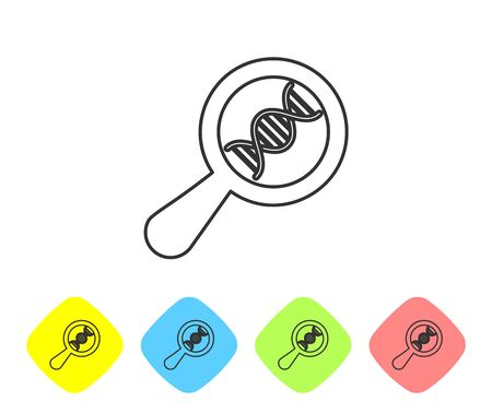 Grey DNA research, search line icon on white background. Magnifying glass and dna chain. Genetic engineering, cloning, paternity testing. Set icon in color rhombus buttons. Vector Illustration