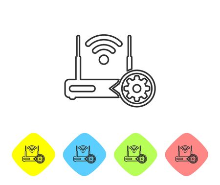 Grey Router and wi-fi signal and gear line icon on white background. Adjusting app, service concept, setting options, maintenance, repair, fixing. Set in color rhombus buttons. Vector Illustration