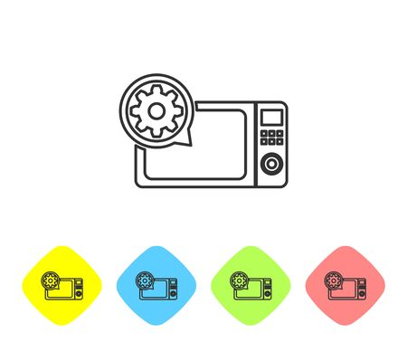 Grey Microwave oven and gear line icon on white background. Adjusting app, service concept, setting options, maintenance, repair, fixing. Set icon in color rhombus buttons. Vector Illustration Ilustração