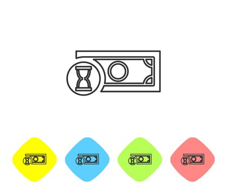 Grey Fast payments line icon on white background. Fast money transfer payment. Financial services, fast loan, time is money, cash back concept. Set icon in color rhombus buttons. Vector Illustration Stock Vector - 124594535
