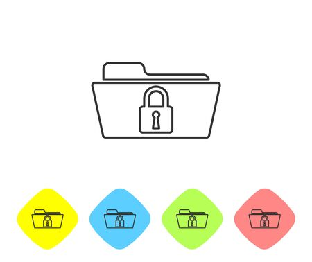Grey Folder and lock line icon on white background. Closed folder and padlock. Security, safety, protection concept. Set icon in color rhombus buttons. Vector Illustration Illustration