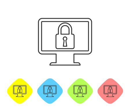 Grey Lock on computer monitor screen line icon on white background. Monitor and padlock. Security, safety, protection concept. Safe internetwork. Set icon in color rhombus buttons. Vector Illustration