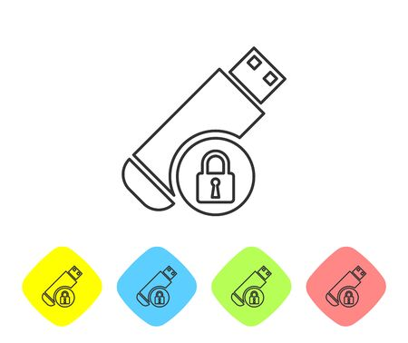 Grey USB flash drive with closed padlock line icon on white background. Security, safety, protection concept. Set icon in color rhombus buttons. Vector Illustration