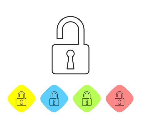 Grey Open padlock line icon on white background. Opened lock sign. Cyber security concept. Digital data protection. Safety safety. Set icon in color rhombus buttons. Vector Illustration