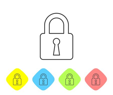 Grey Lock line icon on white background. Closed padlock sign. Cyber security concept. Digital data protection. Safety safety. Set icon in color rhombus buttons. Vector Illustration