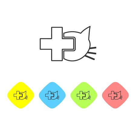 Grey Veterinary clinic symbol line icon isolated on white background. Cross with cat veterinary care. Pet First Aid sign. Set icon in color rhombus buttons. Vector Illustration