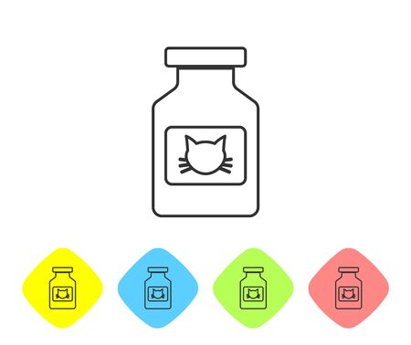 Grey Cat medicine bottle line icon isolated on white background. Container with pills. Prescription medicine for animal. Set icon in color rhombus buttons. Vector Illustration