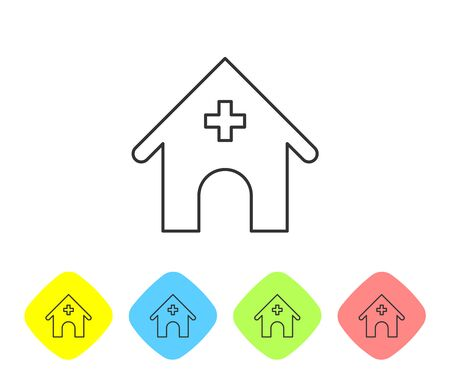 Grey Veterinary medicine hospital, clinic or pet shop for animals line icon isolated on white background. Vet or veterinarian clinic. Set icon in color rhombus buttons. Vector Illustration