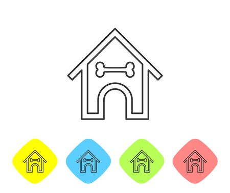 Grey Dog house and bone line icon isolated on white background. Dog kennel. Set icon in color rhombus buttons. Vector Illustration Illustration