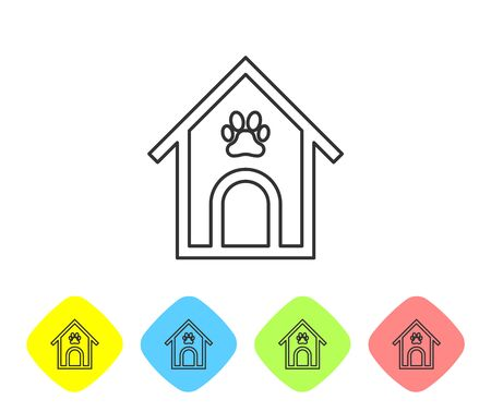 Grey Dog house and paw print pet line icon isolated on white background. Dog kennel. Set icon in color rhombus buttons. Vector Illustration