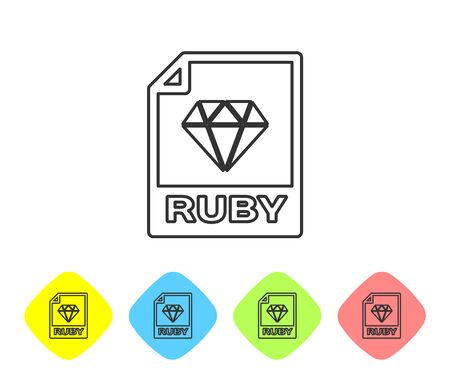 Grey RUBY file document icon. Download ruby button line icon isolated on white background. RUBY file symbol. Set icon in color rhombus buttons. Vector Illustration