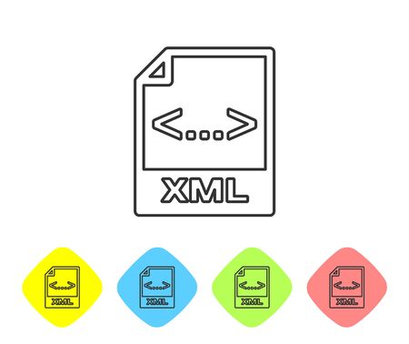 Grey XML file document icon. Download xml button line icon isolated on white background. XML file symbol. Set icon in color rhombus buttons. Vector Illustration Imagens - 124594711