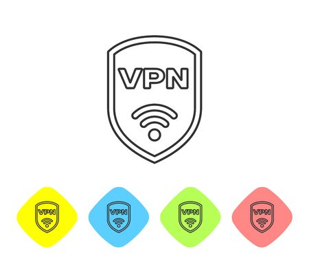 Grey Shield with VPN and wifi wireless internet network symbol line icon isolated on white background. VPN protect safety concept. Set icon in color rhombus buttons. Vector Illustration