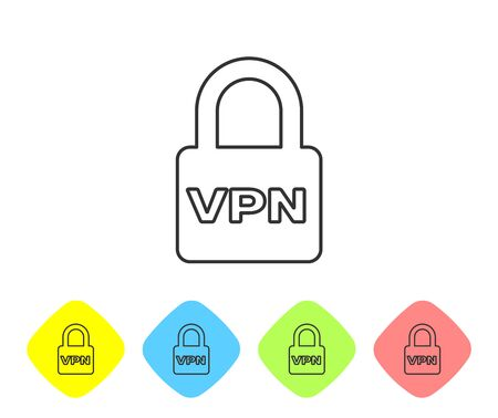 Grey Lock VPN line icon isolated on white background. Set icon in color rhombus buttons. Vector Illustration