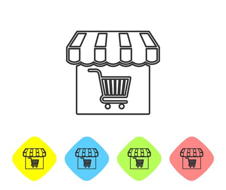 Grey Shopping building or market store with shopping cart line icon isolated on white background. Shop construction. Supermarket basket symbol. Set icon in color rhombus buttons. Vector Illustration