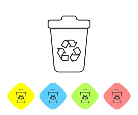 Grey Recycle bin with recycle symbol line icon isolated on white background. Trash can icon. Garbage bin sign. Recycle basket sign. Set icon in color rhombus buttons. Vector Illustration Illustration