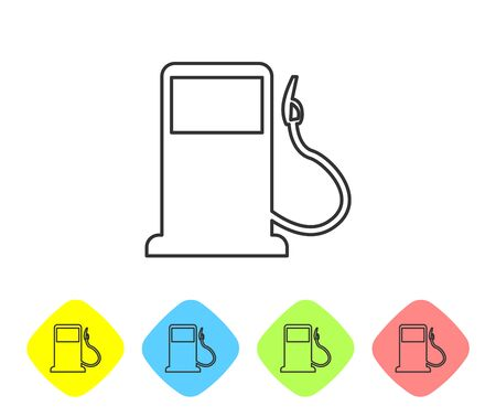Grey Petrol or Gas station line icon isolated on white background. Car fuel symbol. Gasoline pump. Set icon in color rhombus buttons. Vector Illustration