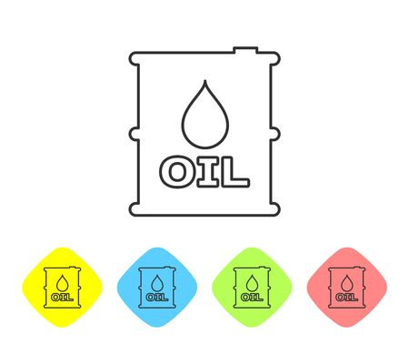 Grey Oil barrel line icon isolated on white background. Oil drum container. For infographics, fuel, industry, power, ecology. Set icon in color rhombus buttons. Vector Illustration Illustration