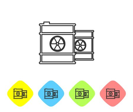 Grey Radioactive waste in barrel line icon isolated on white background. Toxic refuse keg. Radioactive garbage emissions, environmental pollution. Set icon in color rhombus button. Vector Illustration