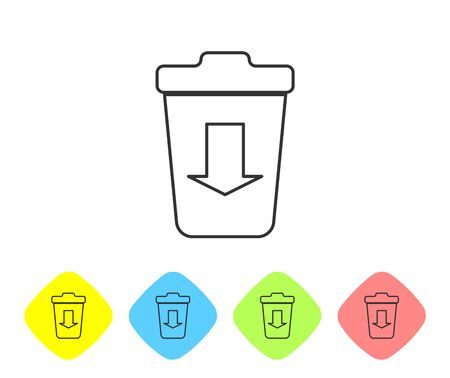 Grey Send to the trash line icon isolated on white background. Set icon in color rhombus buttons. Vector Illustration Illustration