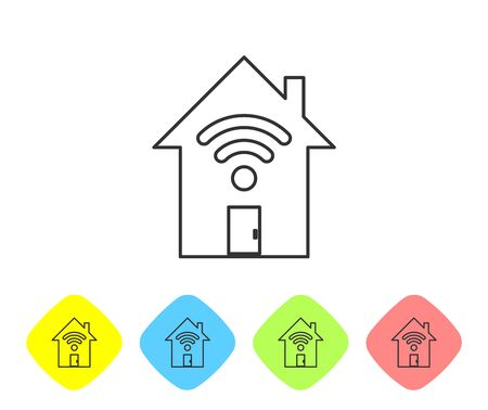 Grey Smart home with wi-fi line icon isolated on white background. Remote control. Set icon in color rhombus buttons. Vector Illustration Illustration