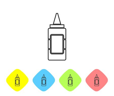 Grey Mustard bottle line icon isolated on white background. Set icon in color rhombus buttons. Vector Illustration