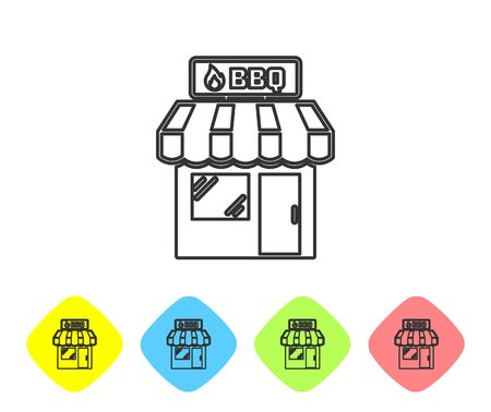 Grey Barbecue shopping building or market store line icon isolated on white background. BBQ grill party. Shop construction. Set icon in color rhombus buttons. Vector Illustration